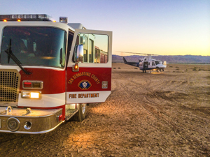 Medic Engine 36 set up a landing zone for Mercy Air 22.