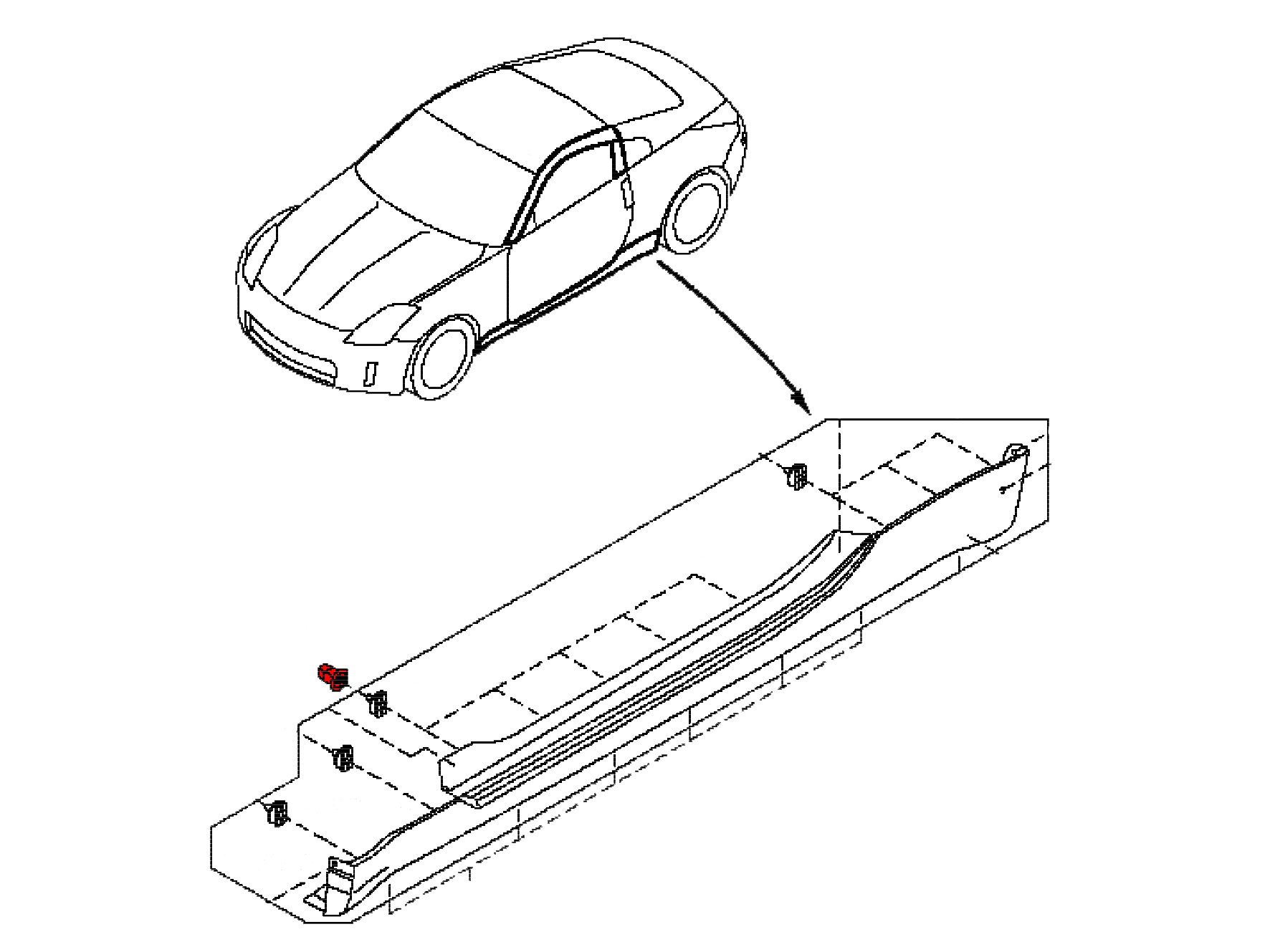 This clip is snapped into the body on your 2003 2008 nissan 350z and allows the side skirt to clip into it holding it to the