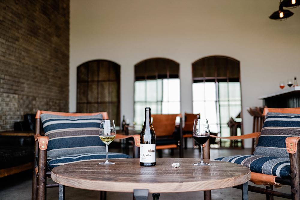 Zaca Mesa Club Room with wine bottle