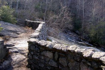 Stone wall above Upper Crabtree Falls