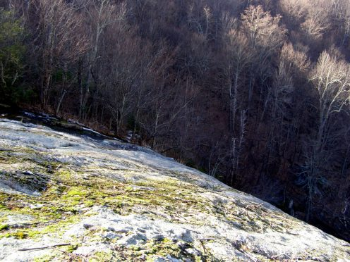 Crabtree Creek disappears over the massive cliff