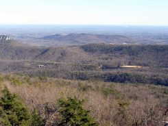 Visitor center and Hanging Rock Lake - from Moore's Knob