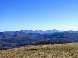 Zoomed in view of Sandymush Bald (left) and Crabtree Bald (right), the high peaks of the Newfound Mountains