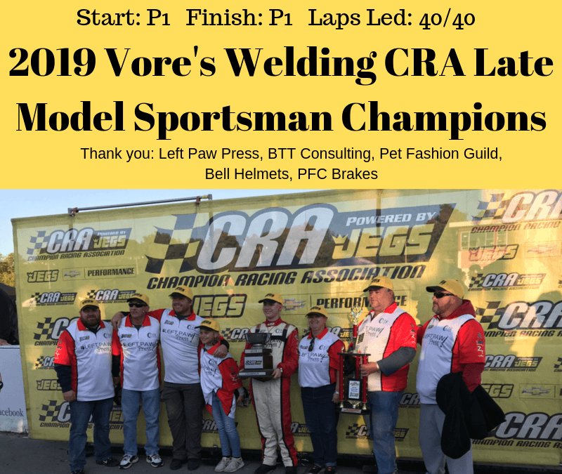 Zachary Tinkle Wins Vore's Welding CRA Late Model Sportsman Winchester Race and Championship