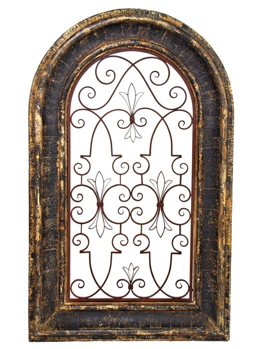 ARCHED WINDOW WOODEN WALL FRAME WITH IRON DECOR IN