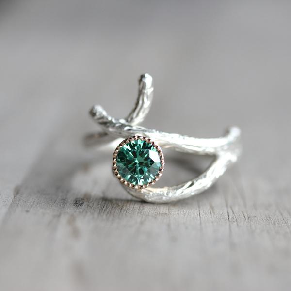 gemutlich silver gold branch engagement ring green by nangijalajewelry moissanite engagement rings jared moissanite engagement rings with sapphires - مجلة ست الحسن
