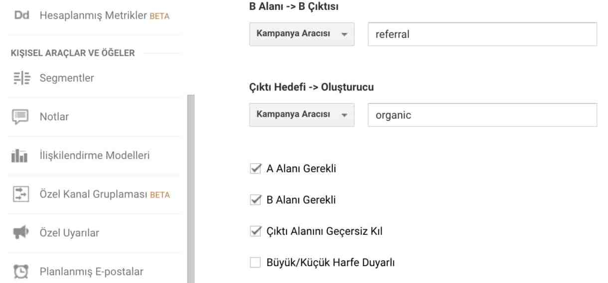 google analytics gelismis filtre