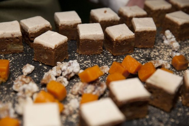 Sweet potato cake at the Observer Ethical Awards 2015, held at the V&A Museum in London