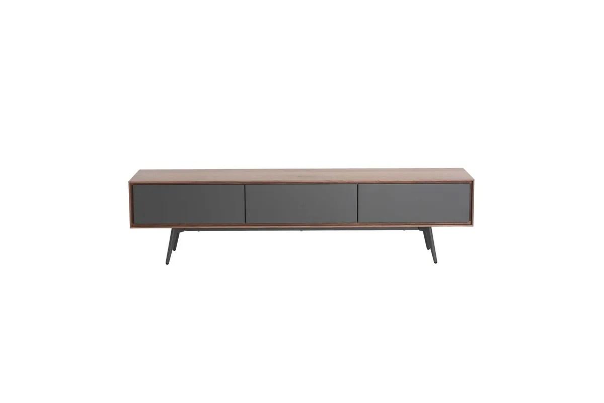 meuble tv en noyer plaque 180 cm 2 tiroirs 1 porte abysse
