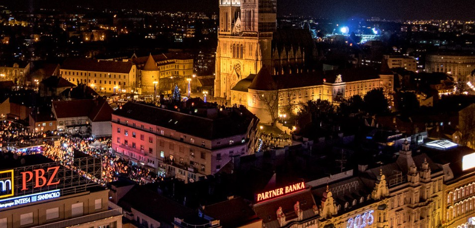 Zagreb by night from Zagreb 360