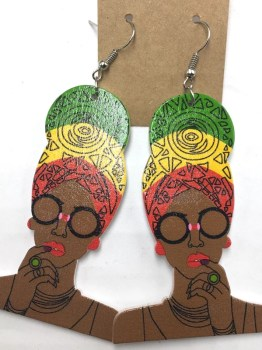 African Headwrap Earrings (Reggae)