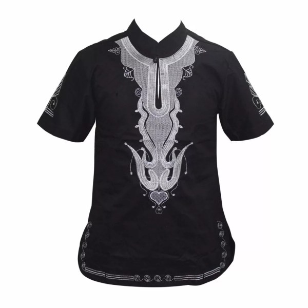 African Embroidery Mens Shirt (Black)