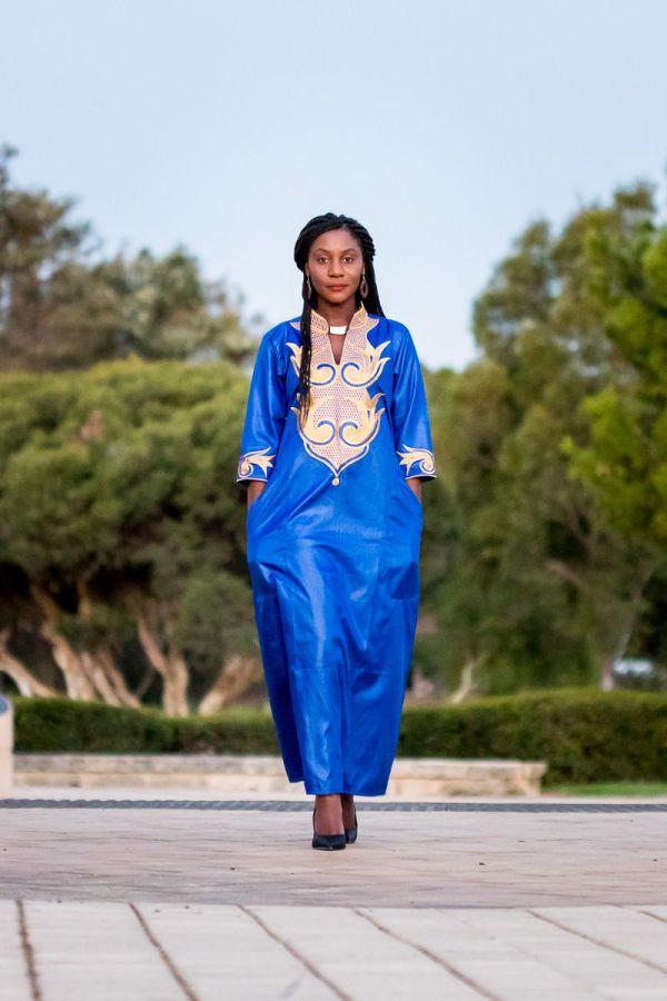 African Women's Embroidery Dress (Blue)