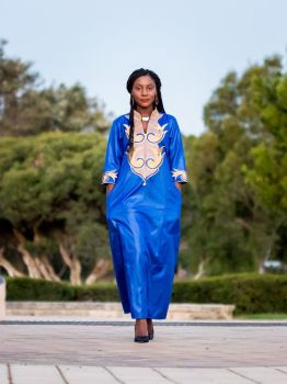 African Women's Embroidery Dress (Blue)