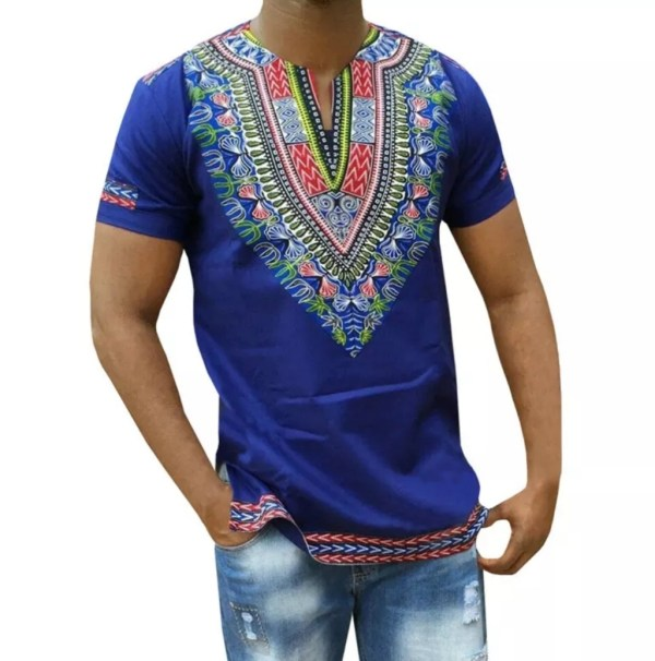 Dashiki Men's Shirt Blue