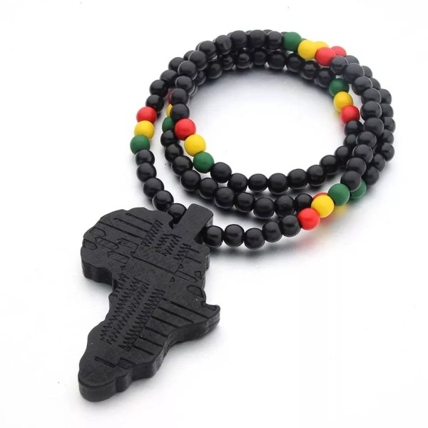 Multicolor Wooden Africa Map Necklace