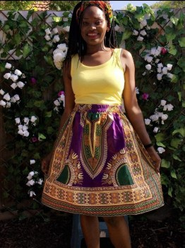 Dashiki Elastic Waist Skirt