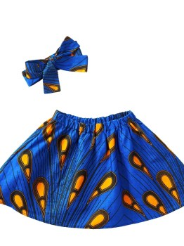Ankara Girls Elastic Skirt (Blue)