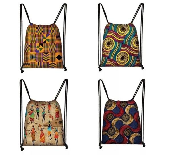 African Drawstring Bags