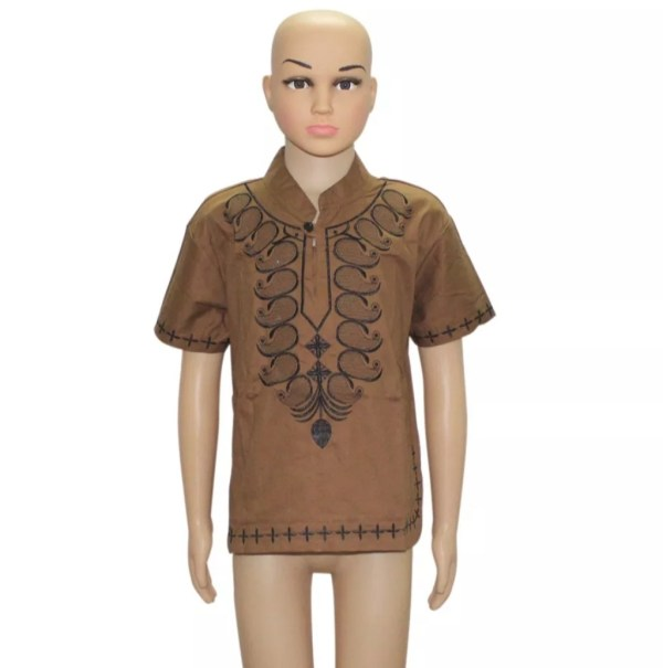Embroidery Kids Shirt Brown