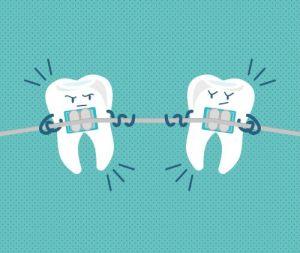 zahnspange grafik zahn zieht an zahn zahnseidenkampagne