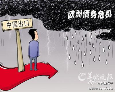"""Las """"exportaciones chinas"""" (en el letrero de la izquierda) esperan a que amaine la """"crisis de deuda europea"""". Viñeta publicada en el Yangcheng Evening News (羊城晚报)."""