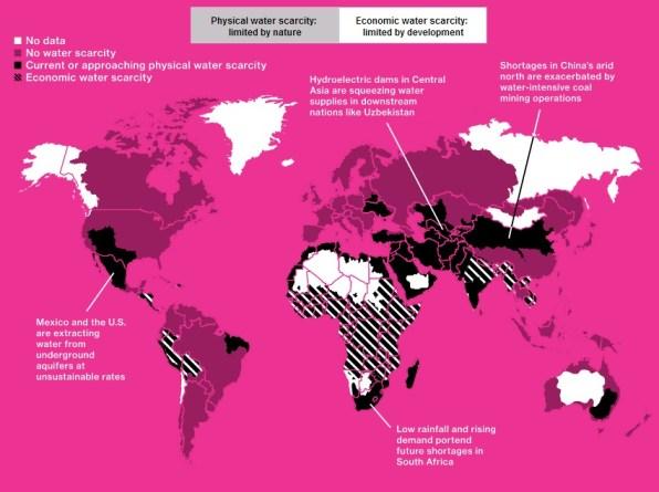 A nivel mundial, las regiones más afectadas por la escasez de agua (en color negro) son África, Oriente Medio y Asia. En China, como se puede ver en el gráfico, el problema es especialmente grave en el norte del país. Gráfico vía Bloomberg.