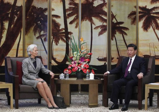 Christine Lagarde y el presidente chino Xi Jinping.