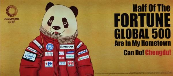 Imagen de la campaña de Chengdu en el aeropuerto de Hong-Kong.