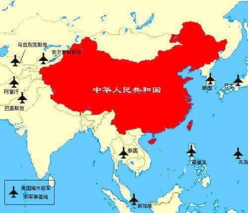Uno de los mapas, con las bases militares estadounidenses, que frecuentemente aparece en las redes sociales chinas.