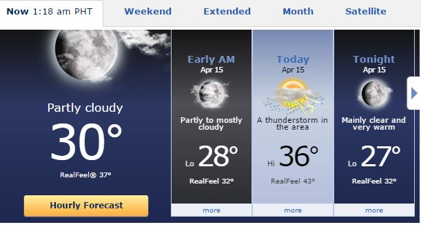 snapshot from Accuweather.com