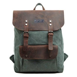 Drf Zaino Casual Porta Laptoppc Tablet In Tela E Pelle Vintage Altezza 45cm Skubg 40 Verde 0