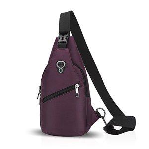 Fandare Sling Bag Monospalla Borse A Spalla Zaino Spalla Borsa A Tracolla Crossbody Bag Borsello Marsupio Zainetto Crossbody Chest Bag Hiking Bag Zaino Uomo Donne Poliestere Viola 0
