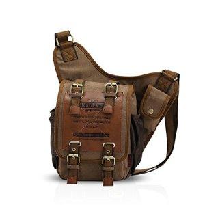 Fandare Vintage Sling Bag Monospalla Zaino Spalla Borsa A Tracolla Crossbody Borsello Marsupio Piccolo Zainetto Scuola Universitari Uomo Donne Tela Cachi 0