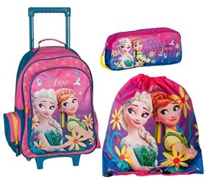 Frozen Anna E Elsa Set Zaino Trolley Con Astuccio E Sacca Sport Scuola Ragazza Bambina 0