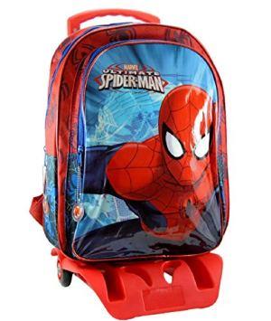 Marvel Spiderman Zaino Scuola Trolley Rimovibile 41x32x14cm Blu Rosso Elementari Medie 0