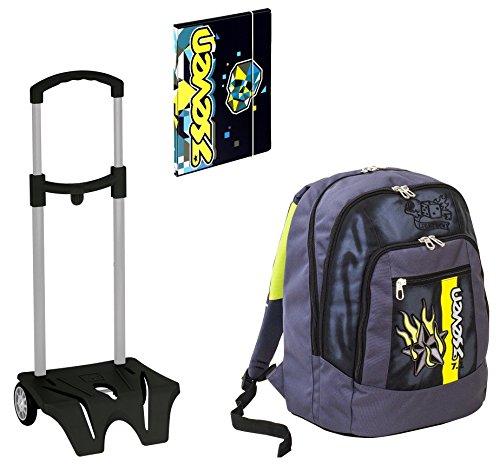 Seven Zaino Scuola Advanced Color Boy Azzurro Easy Trolley Cartellina A4 0