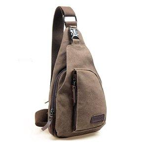 Zaino Monospalla Borsa A Tracolla Tela Borsello Petto Uomo Donna Sling Bag Chest Bag Per Gli Sport Esterni Di Viaggio Marrone 0
