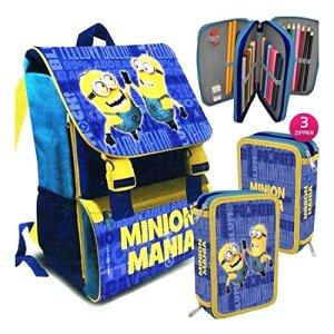 Zaino Scuola Minion Astuccio 3 Cerniere Minions Mania Ps 07064 0