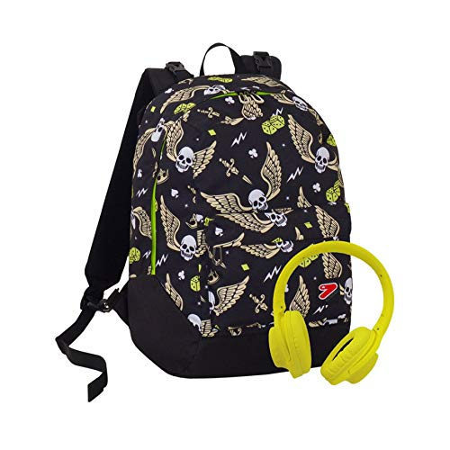 Zaino Reversibile The Double Skull Boy Nero Con Cuffie Stereo Soft Touch 27 Lt 2in1 Scuola Tempo Libero 0
