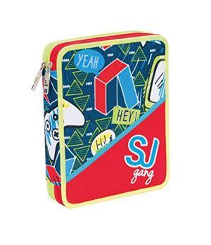Astuccio Scuola Seven Maxi Sj Boy 2 Scomparti Rosso Pennarelli Matite Gomma Ecc 0