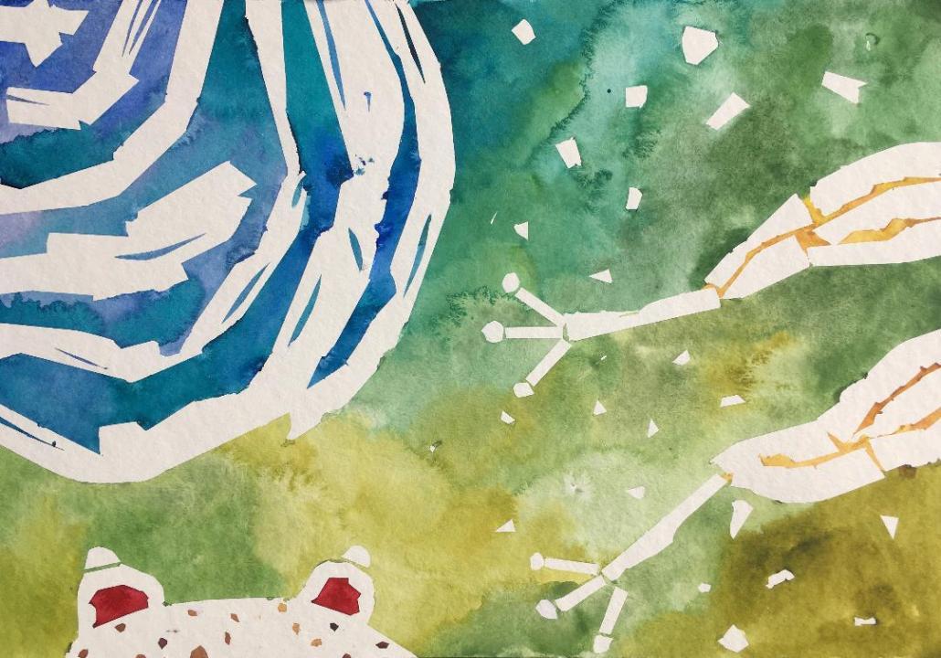 Slikarski tečaj za odrasle - delo ustvarjalke Mie Sivec. Akvarel.