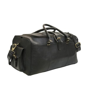 Black Soft Leather Duffle Bag