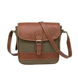 Green Waxed Canvas Light Weighted Cross Body Bag