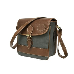Grey Waxed Canvas Cross Body Bag