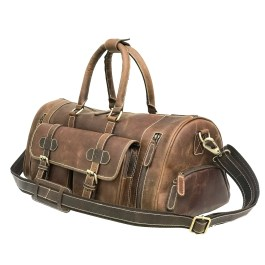 Genuine Leather Weekender Bag With Shoes Compartment