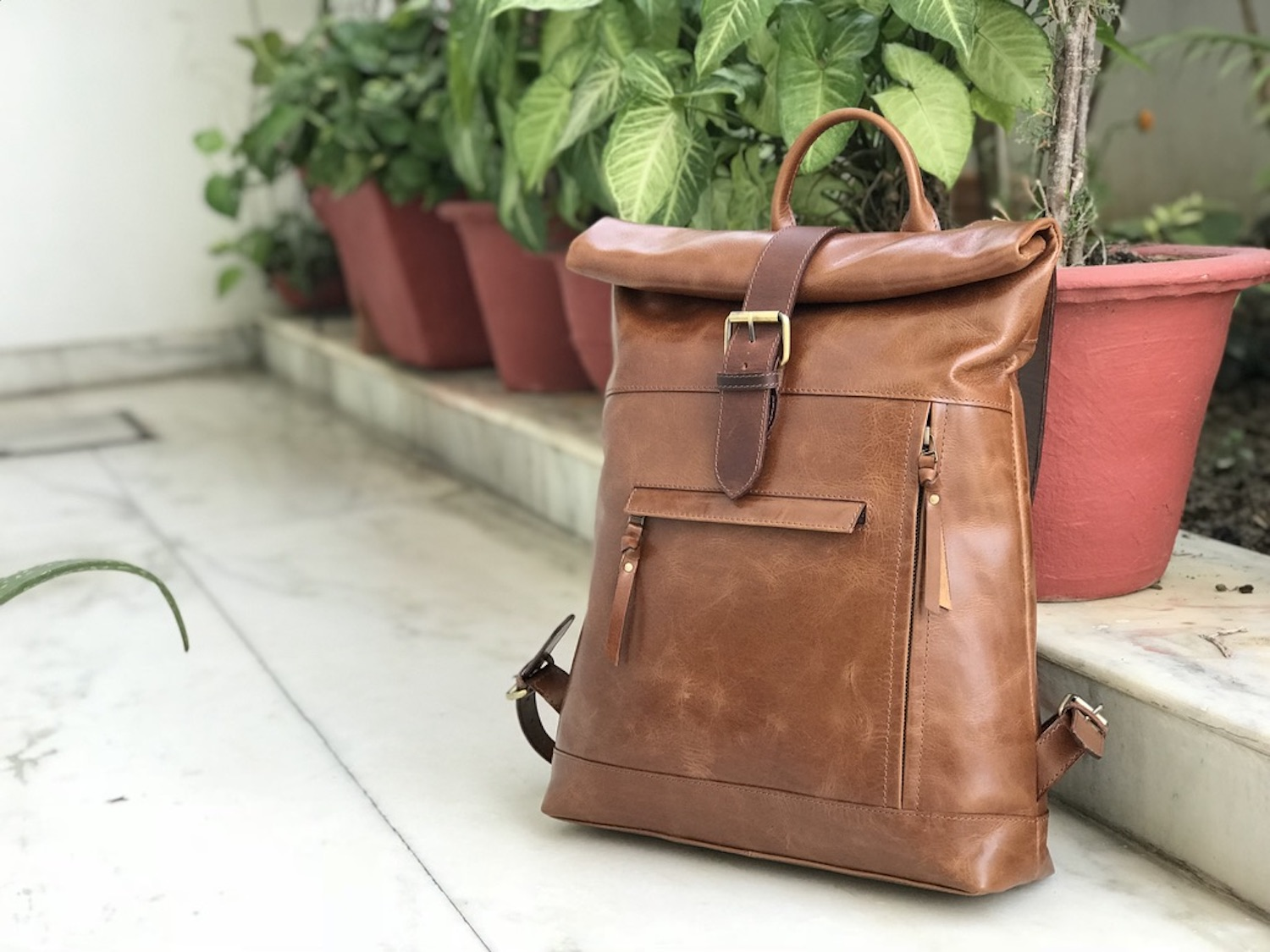 Zakara Unisex Leather Backpack