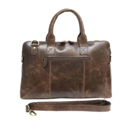 Glossy Brown Leather Laptop Sleeve Bag