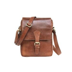 Genuine Brown Leather Cross Body Messenger Sling Satchel Bag