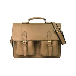 Soft Leather Beige Color Briefcase Bag
